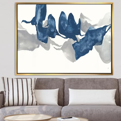 Designart 'Gouache Sapphire on Gray' Modern & Contemporary Framed Canvas - Blue
