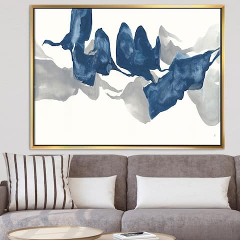 Designart 'Gouache Sapphire on Gray' Modern & Contemporary Framed Canvas - Blue