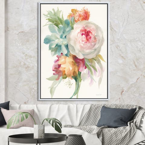 Designart 'Multicolor French Bouquet II' Farmhouse Framed Canvas - Multi-color