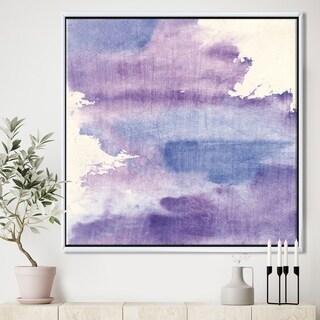 Designart 'Watercolor Purple Haze I' Modern & Contemporary Framed Canvas
