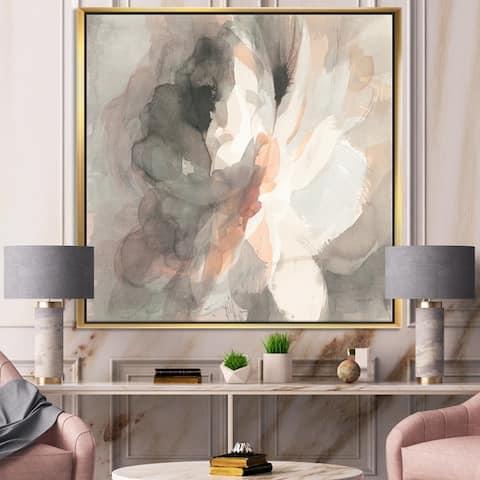 Designart 'Abstract Peony Grey' Pink Modern Framed Canvas - Grey