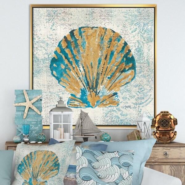 Designart 'Coastal Pastel seashells I' Vintage Nautical Framed Canvas - Blue