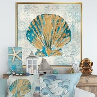 Designart 'Coastal Pastel seashells I' Vintage Nautical Framed Canvas - Blue