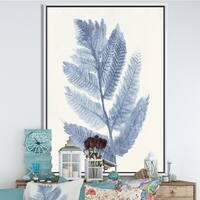 Designart 'Forest Ferns Blue' Cottage Framed Canvas - Blue