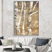 Designart 'Natural Birch Forest I' Traditional Framed Canvas - Brown/White