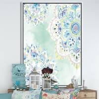 Designart 'Watercolor mandalas IV' Floral & Botanical Framed Canvas - Blue/Green