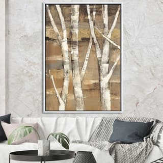 Designart 'Natural Birch Forest II' Traditional Framed Canvas - Brown/White