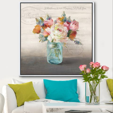 Designart 'French Cottage Bouquet II Mothers' Cottage Framed Canvas - Grey