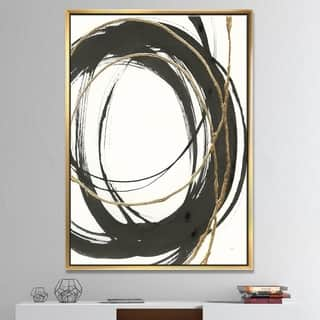 Designart 'Gold Glamour Circle III' Posh & Luxe Framed Canvas - Black