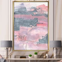 Designart 'Durty Shabby Pink Blush II' Shabby Chic Framed Canvas - Grey