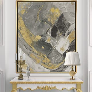 Designart 'Marble Gold and Black II' Modern & Contemporary Framed Canvas - Grey