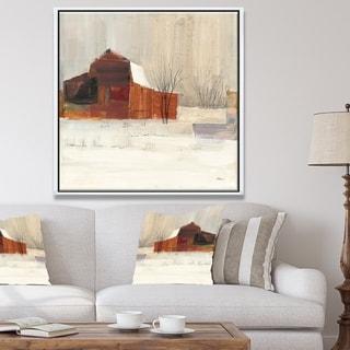 Designart 'Winter in the Barns' Farmhouse Framed Canvas - Grey/Brown