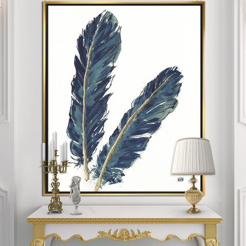 Designart 'Gold Indigo Feathers IV' Modern Bohemian Framed Canvas - Grey
