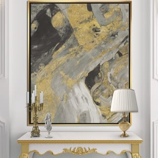 Designart 'Marble Gold and Black' Modern & Contemporary Framed Canvas - Grey