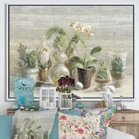 Designart 'Composition of Orchids' Traditional Framed Canvas - Green/Brown