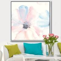 Designart 'Pink Shabby Floral I' Shabby Chic Framed Canvas - Blue/Pink