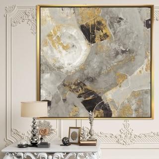 Designart 'Glam Gold Desert Neutral' Modern & Contemporary Framed Canvas - Grey