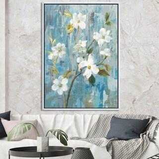 Designart 'Pastel Magnolia I' Floral & Botanical Framed Canvas - Blue