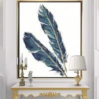 Designart 'Gold Indigo Feathers III' Modern Bohemian Framed Canvas - Grey