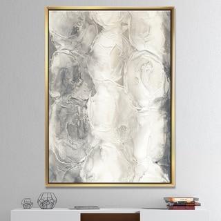 Designart 'Gray Circles I' Modern & Contemporary Framed Canvas - Multi-color