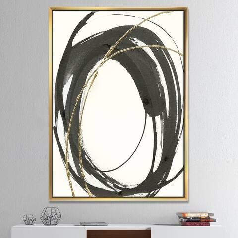 Designart 'Gold Glamour Circle I' Posh & Luxe Framed Canvas - Black