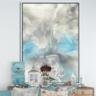 Designart 'Watercolor Minimal Blue Tones I' Mid-Century Modern Framed Canvas - Grey