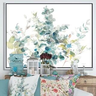 Designart 'Eucalyptus Natural Element' Farmhouse Framed Canvas - Blue
