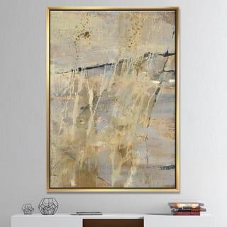 Designart 'Geometric Cream Block II' Modern Glam Framed Canvas - Multi-color