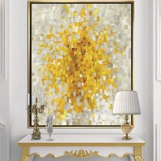 Designart 'Glam Yellow Explosion Blocks' Modern & Transitional Framed Canvas - Multi-color