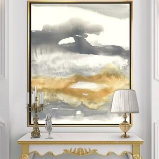 Designart 'Gold Glamour Direction I' Modern & Contemporary Framed Canvas - Grey/Orange