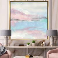 Designart 'Metallic Shabby Pink I' Shabby Chic Framed Canvas - Blue