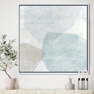 Designart 'Grey and White Collage II' Modern & Contemporary Framed Canvas - Blue