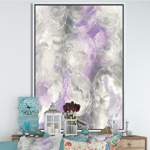 Silver Orchid 'Watercolor Minimal Purple Tones III' Modern Farmhouse Framed Canvas