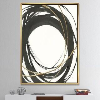 Designart 'Gold Glamour Circle II' Posh & Luxe Framed Canvas - Black