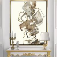 Designart 'Gold Glam Squares III' Modern & Contemporary Framed Canvas - Brown