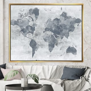 Designart 'Golden Grey World Neutral' Traditional Framed Canvas
