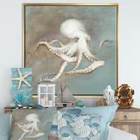 Designart 'Octopus Treasures from the Sea' Nautical & Coastal Framed Canvas - Blue/Brown