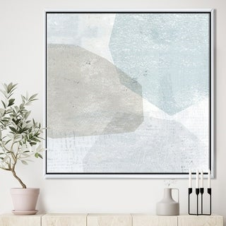 Designart 'Grey and White Collage I' Modern & Contemporary Framed Canvas - Blue