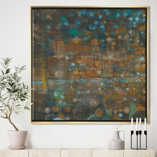 Designart 'Blue and Bronze Dots on Glass III' Cabin & Lodge Framed Canvas - Blue