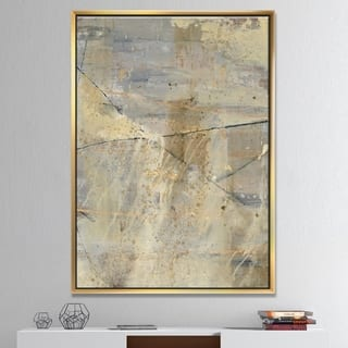 Designart 'Geometric Cream Block I' Modern Glam Framed Canvas - Multi-color