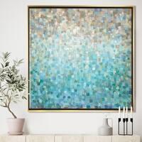 Designart 'Blocked Abstract' Nautical & Coastal Framed Canvas - Blue