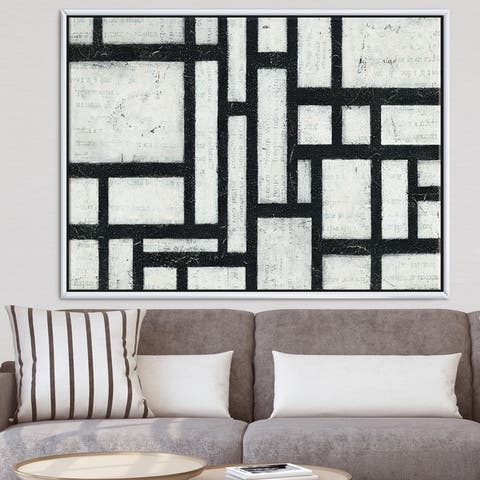 Designart 'Black and White Labyrinth geometric' Mid-Century Modern Framed Canvas - Black