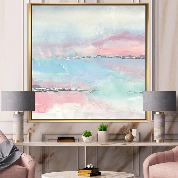 Designart 'Metallic Shabby Pink II' Shabby Chic Framed Canvas - Blue