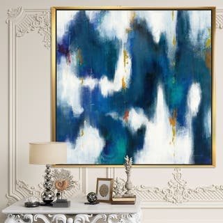 Designart 'Blue Glam Texture II' Contemporary Framed Canvas - Blue