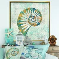 Designart 'Spiral Shell Hand Painted' Nautical & Coastal Framed Canvas - Blue