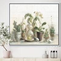 Designart 'Greenhouse Orchids' Floral Cottage Framed Canvas - Grey/Green