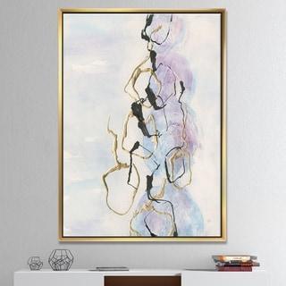 Designart 'Gold Lines on Pastel I' Modern Glam Framed Canvas - Purple