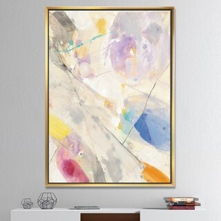Designart 'Spring Minimalist Confetti I' Modern & Contemporary Framed Canvas - Multi-color