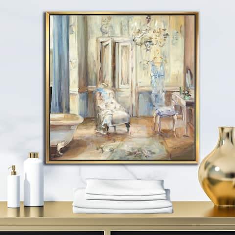 Designart 'French Boudoir Bath I' Traditional Bathroom Framed Canvas - Blue
