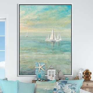 Designart 'Sunrise Boat II' Nautical & Coastal Framed Canvas - Blue